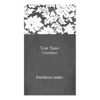 Elegant Grey Lace Consultant Business Card