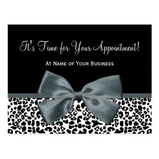 Elegant Grey Leopard Salon Appointment Reminder Postcard