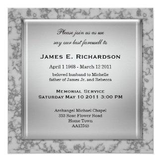 Elegant Grey Marble Memorial Service Invitation