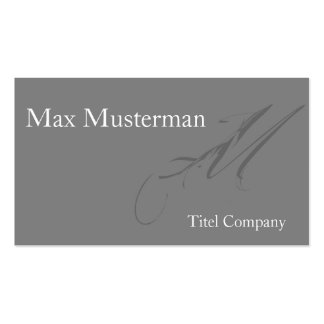 Elegant grey mono gram of visiting card pack of standard business cards