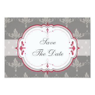 Elegant Grey & Red Roses Wedding Save the Date 3.5x5 Paper Invitation Card