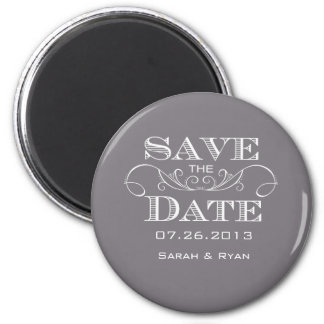 Elegant Grey Save the Date Magnet