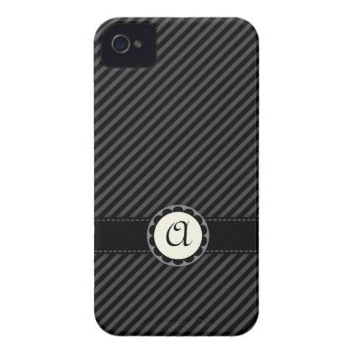 Elegant grey stripes monogram BlackBerry Bold case