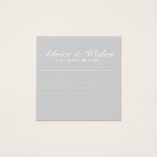 Elegant Grey Wedding Advice and Wishes Square Business Card