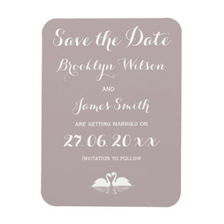 Elegant Grey Wedding Save The Date Magnets Swans