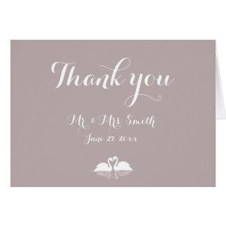 Elegant Grey Wedding Thank You Cards Swans