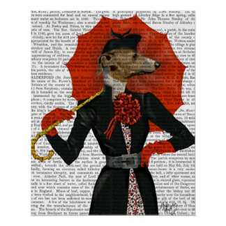 Elegant Greyhound and Red Umbrella Poster