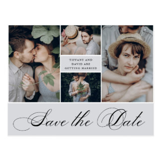 Elegant Grid | 4 Photo Save the Date Postcard