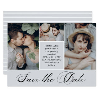 Elegant Grid | 4 Photo Wedding Save the Date Card