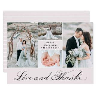 Elegant Grid | 4 Photo Wedding Thank You Card