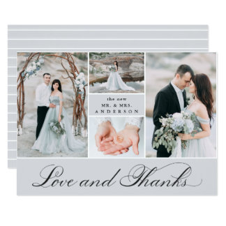 Elegant Grid | 4 Photo Wedding Thank You Card