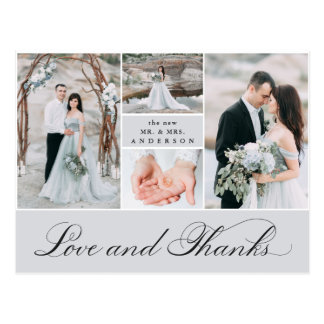 Elegant Grid | 4 Photo Wedding Thank You Postcard