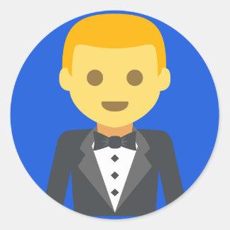 Elegant Groom Emoji Round Sticker