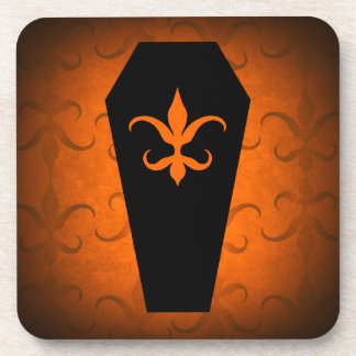 Elegant Halloween gothic coffin orange and black Beverage Coasters
