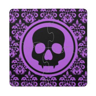 Elegant Halloween skull on damask black and purple Puzzle Coaster