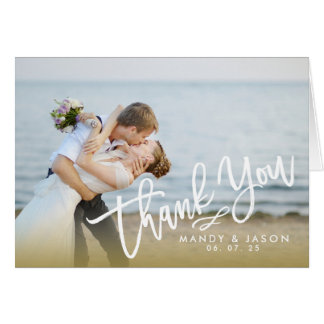 Elegant Hand Lettered Script 2 Photo Thank You Card