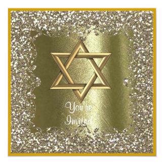ELEGANT HANUKKAH  CRYSTAL Gold Sparkle  Invitation