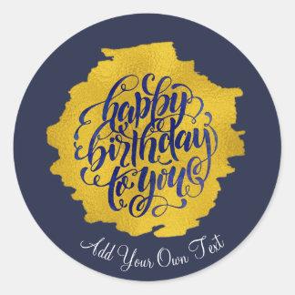 Elegant happy birthday gold calligraphy classic round sticker