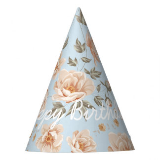 Elegant Happy Birthday in Shabby Chic Roses Party Hat