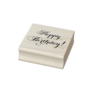 Elegant Happy Birthday Rubber Stamp