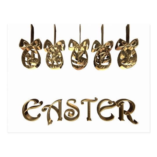 Elegant Happy Easter Eggs Ornaments Typography Postcard