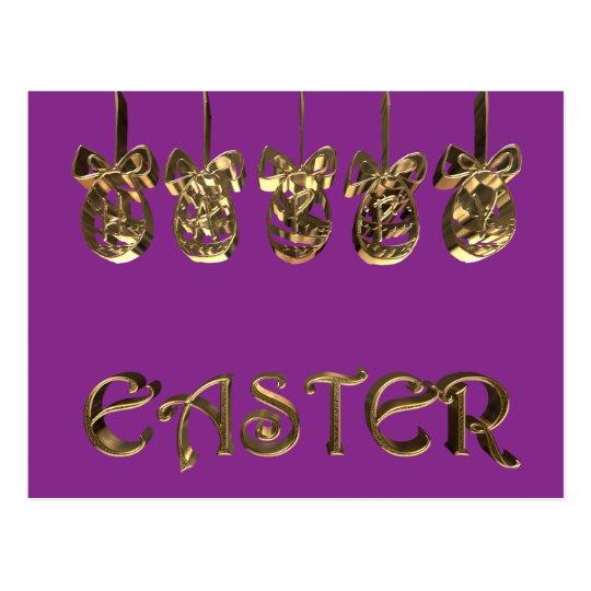 Elegant Happy Easter Eggs Ornaments Typography Postcard