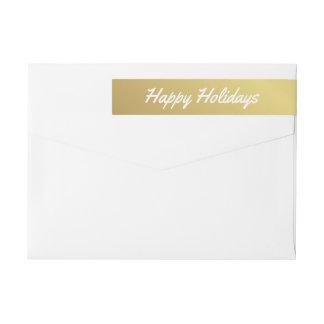 Elegant Happy Holidays Brushstoke Gold Wraparound Wraparound Return Address Label