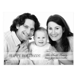 Elegant Happy Holidays Family Photo Grey Postcard