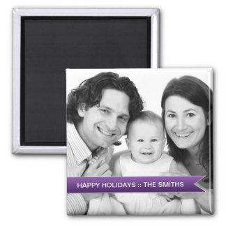 Elegant Happy Holidays Purple Ribbon Family Photo Magnet