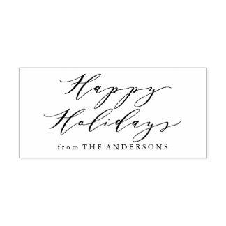Elegant Happy Holidays | Return Address Stamp