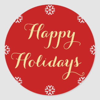 Elegant Happy Holidays Snowflakes Red Faux Gold Classic Round Sticker