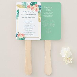 Elegant Hawaiian Hibiscus Wedding Program Hand Fan