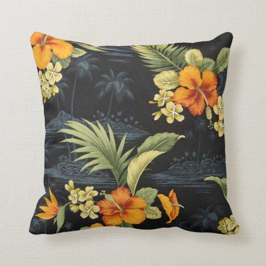 Elegant Hawaiian Orange Hibiscus Flower Pattern Cushion