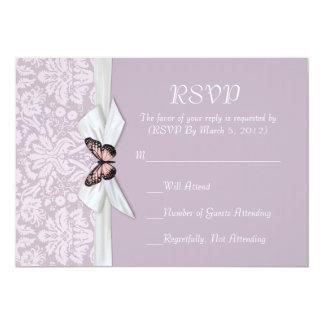 "Elegant Haze Tudor Damask RSVP card 5"" X 7"" Invitation Card"