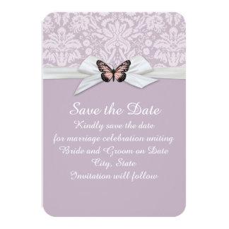 "Elegant Haze Tudor Damask Save the date 3.5"" X 5"" Invitation Card"