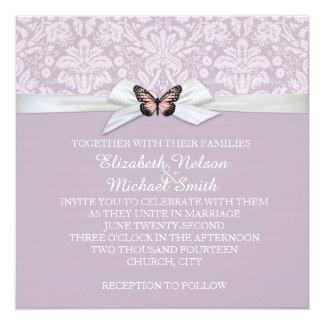 "Elegant Haze Tudor Damask Wedding Invite 5.25"" Square Invitation Card"