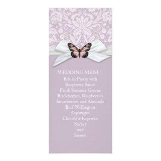 "Elegant Haze Tudor Damask Wedding Menu 4"" X 9.25"" Invitation Card"
