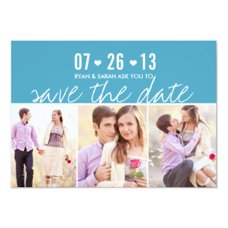Elegant Heart Blue Save the Dates with Photos 13 Cm X 18 Cm Invitation Card