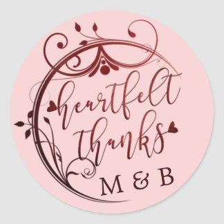 Elegant Heartfelt Thanks, Marsala and Blush Pink Classic Round Sticker