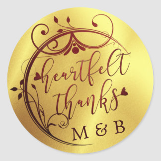 Elegant Heartfelt Thanks, Marsala and Gold Classic Round Sticker