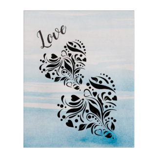 Elegant Hearts In Black And Blue Background Acrylic Wall Art