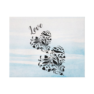 Elegant Hearts In Black And Blue Background Canvas Print