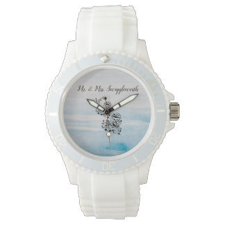 Elegant Hearts In Black And Blue Background Watch