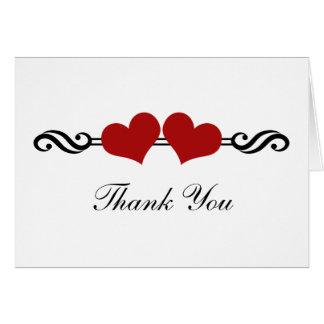 Elegant Hearts Wedding Thank You Card, Red Card