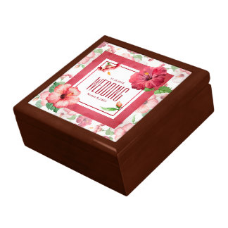 Elegant Hibiscus Floral Wedding Gift Box
