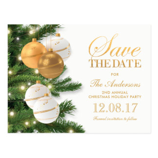 Elegant Holiday Christmas Party Save the Date Postcard