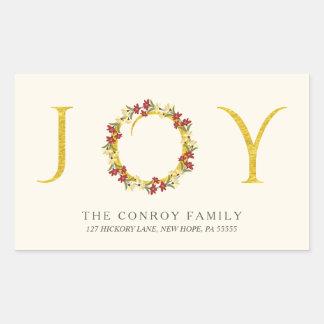 Elegant Holiday Joy Gold Wreath Return Address Rectangular Sticker