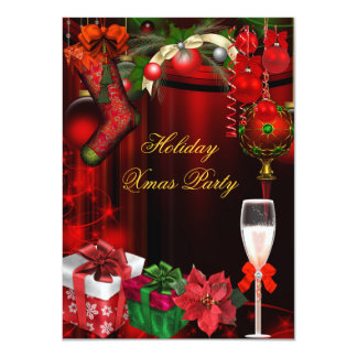 Elegant Holiday Party Green Gold Champagne 4.5x6.25 Paper Invitation Card