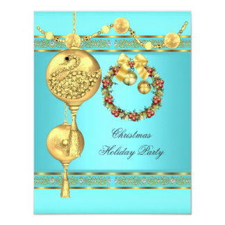 "Elegant Holiday Party Teal Blue Gold Christmas 2 4.25"" X 5.5"" Invitation Card"