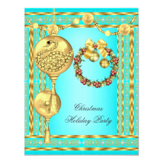 Elegant Holiday Party Teal Blue Gold Christmas 4.25x5.5 Paper Invitation Card
